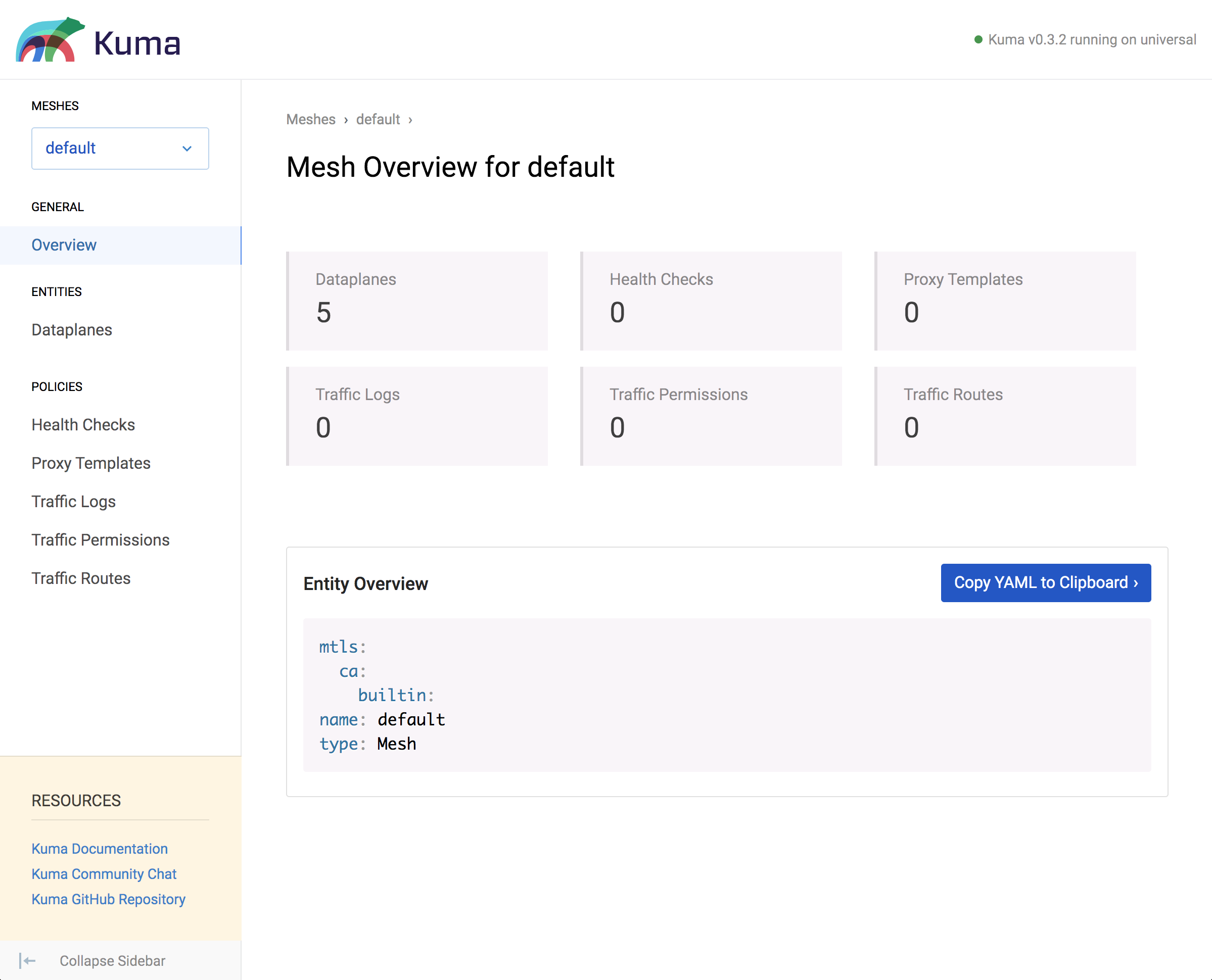 A screenshot of the Mesh Overview of the Kuma GUI