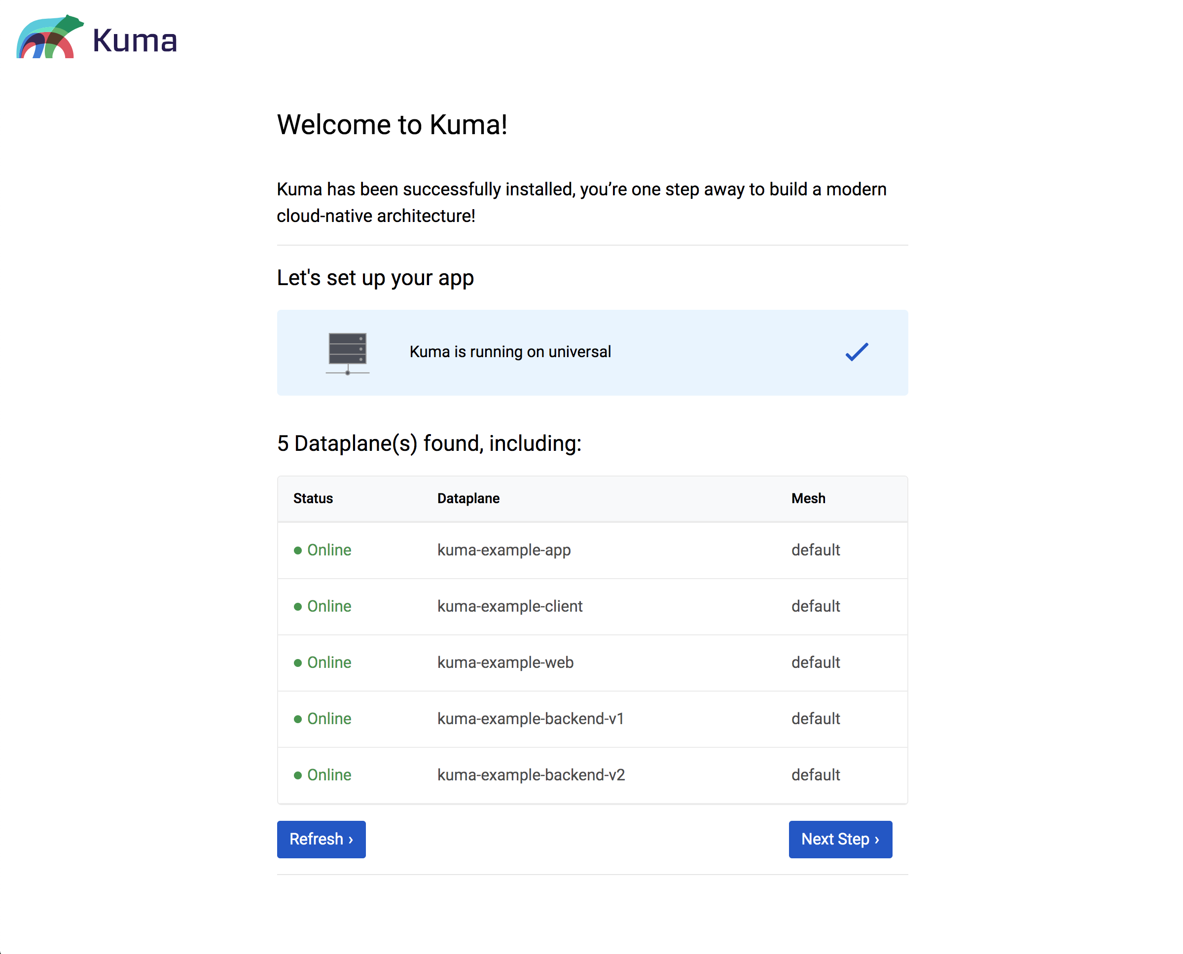 A screenshot of the first step of the Kuma GUI Wizard