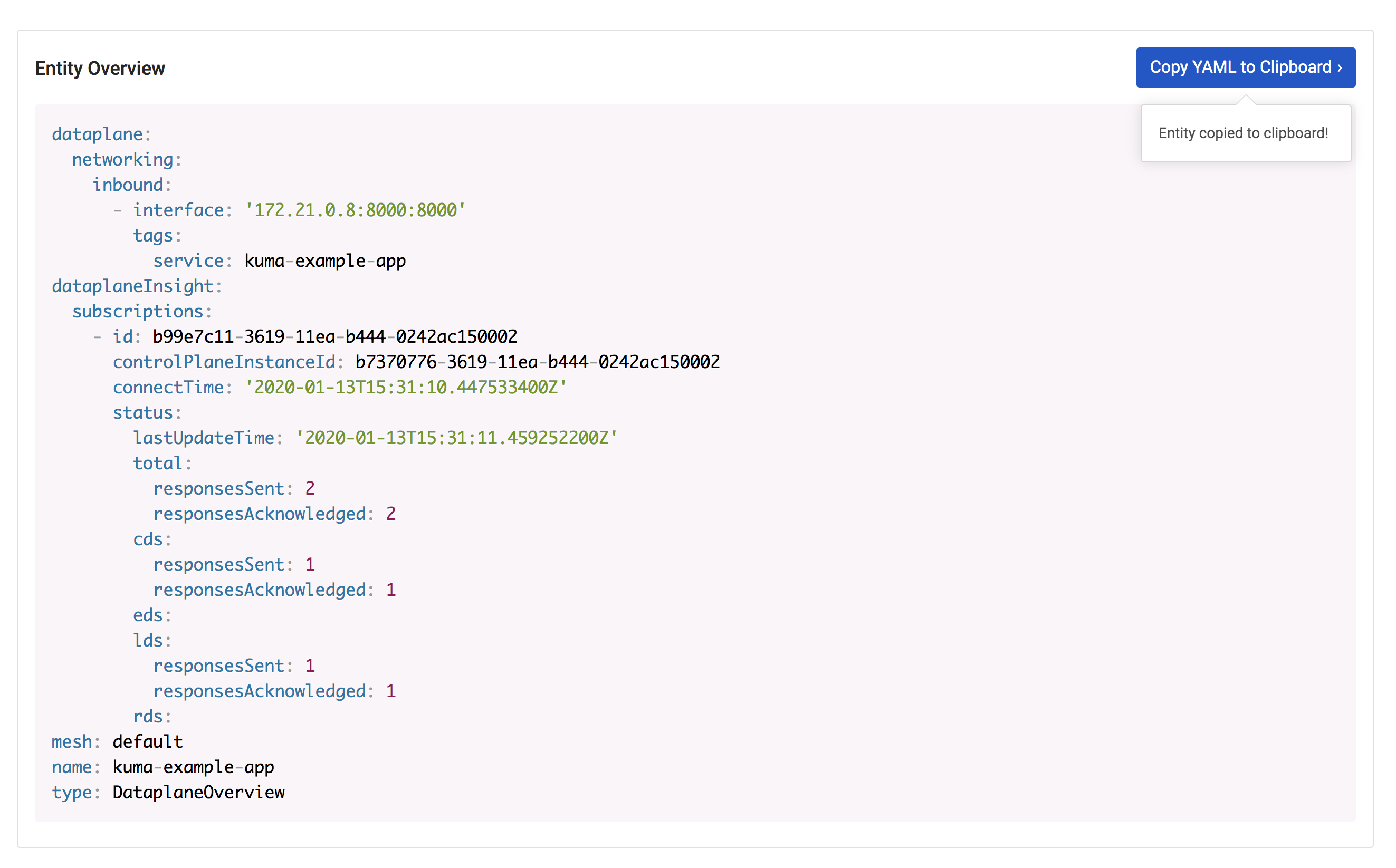 A screenshot of the YAML to clipboard feature in the Kuma GUI